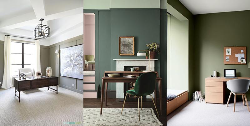 'home office' verde oliva